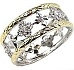 Filigree Two Tone Eternity Band Ring with Gold & Platinum Pave CZ's