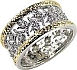 Filigree Two Tone Eternity Band Ring with Diamond Pave CZ's